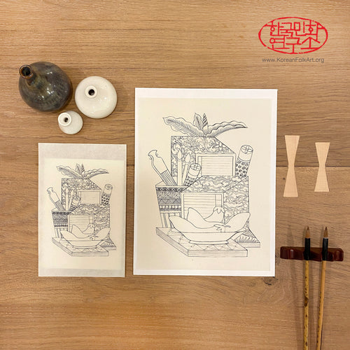Two 'Chaekgeori' Printed Minhwa Drawings with Two Boards