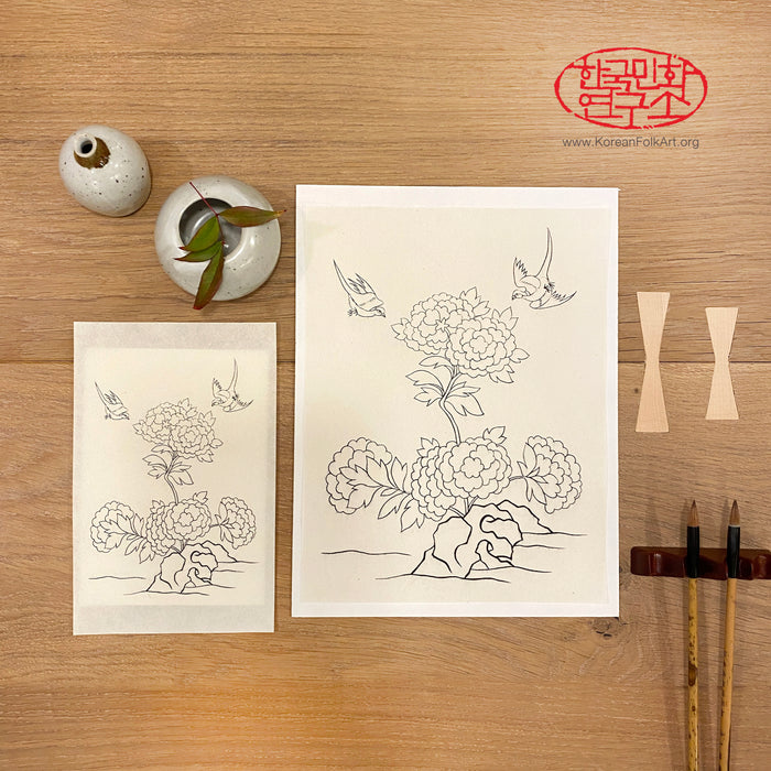Two 'Flowers & Birds' Minhwa Drawings with Two Boards