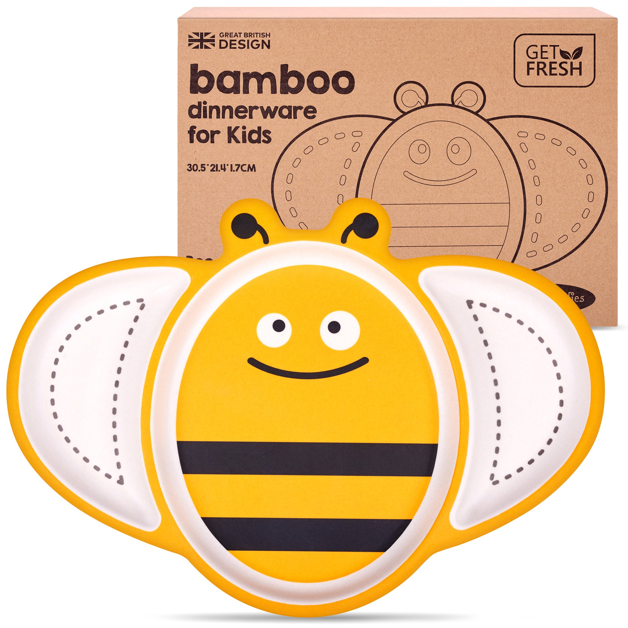 Bee Sectioned Bamboo Plate