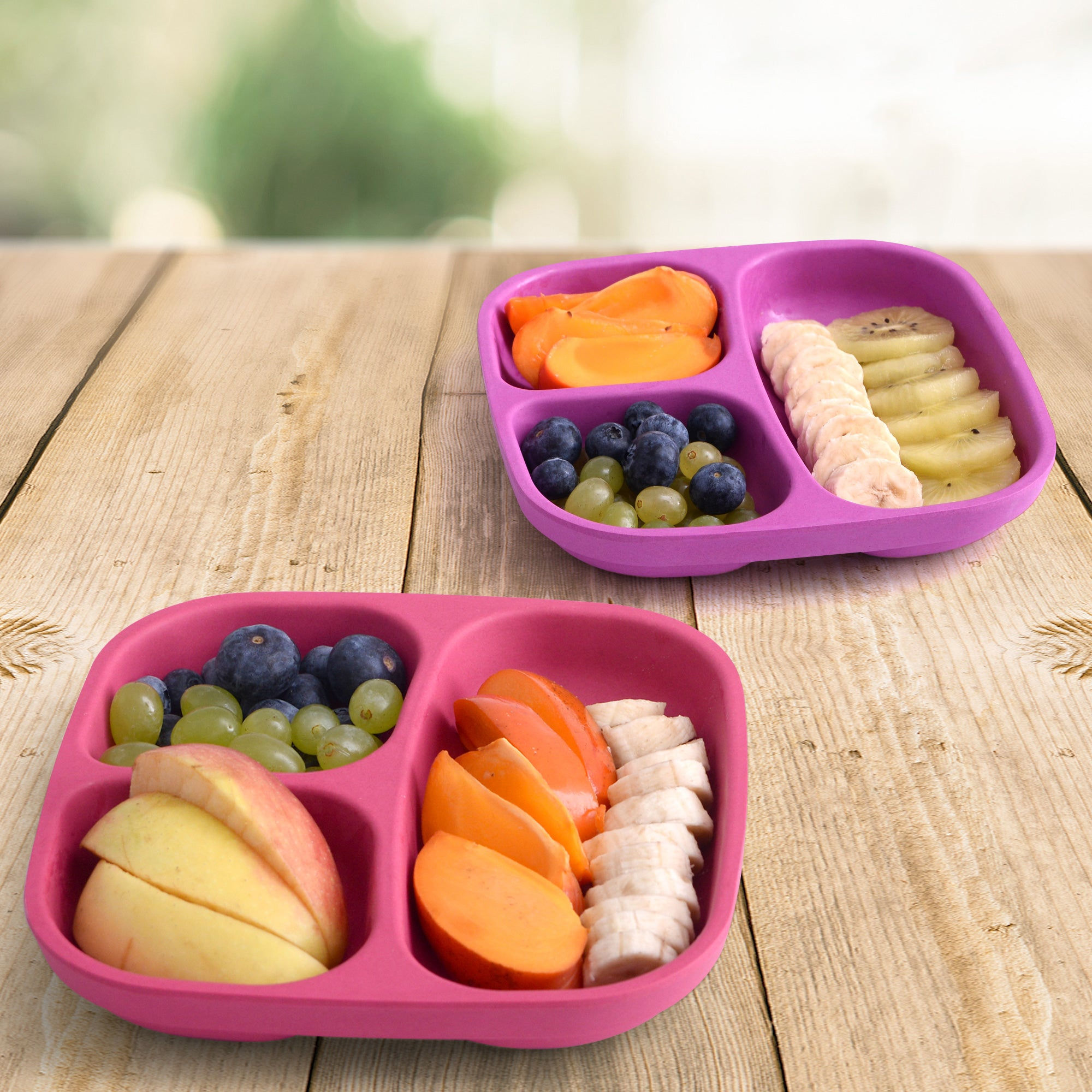 Bamboo divided kids plates (Pink/Purple)