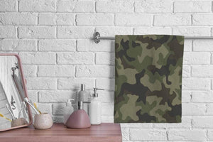 oFloral Camo Military Camouflage Hand Towels Cotton Washcloths,Army Hunting Mask Forest Green Curve Wave Super-Absorbent Soft Towel for Bathroom Beach Kitchen Spa Gym Yoga Face Towel 15X30 Inch
