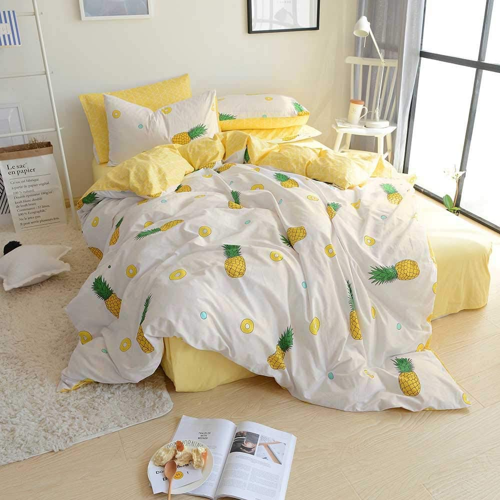 BuLuTu Premium Pineapple Print Kids Duvet Cover Set 3-Piece Set, White Yellow