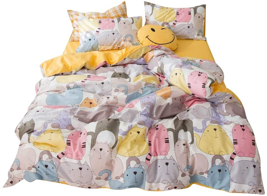 BuLuTu Kids Colorful Cartoon Kitty Cat & Pets Teen Cotton Reversible 3-Piece Bedding Set