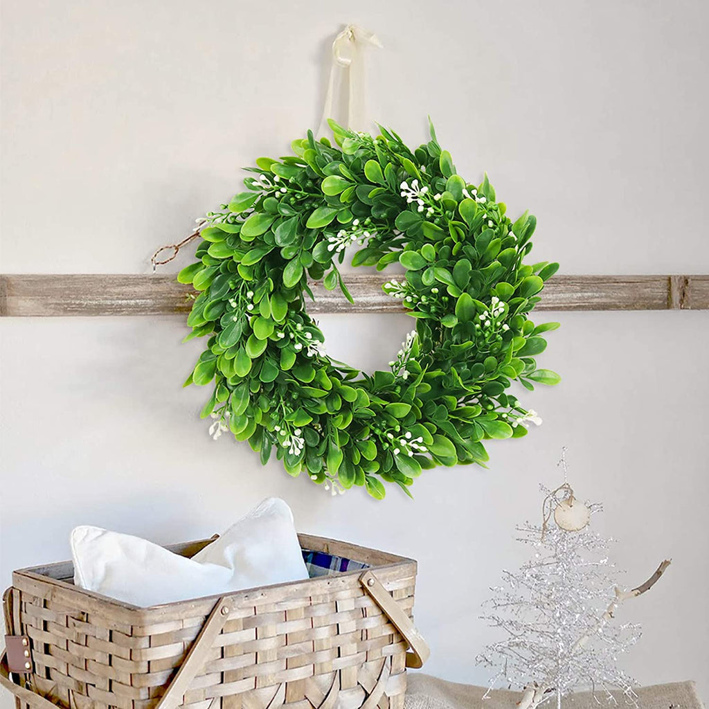 Faux Boxwood Wreath Artificial Green Leaves Wreath for Front Door Wall Hanging