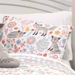 Lush Decor Reversible Pixie Fox Kids Quilt 4-Piece Set, Pink & Gray