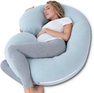 Massage C-Shaped Full Body Support Pregnancy Pillow with Jersey Cover