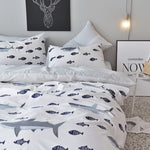 BuLuTu Premium Kids Teen Shark & Fish Blue/Grey Reversible Stripped 3-Piece Bedding Set