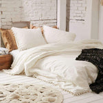 Luxurious Ultra-Soft White Pom-Fringe Duvet Cover King, Full / Queen, Twin Size