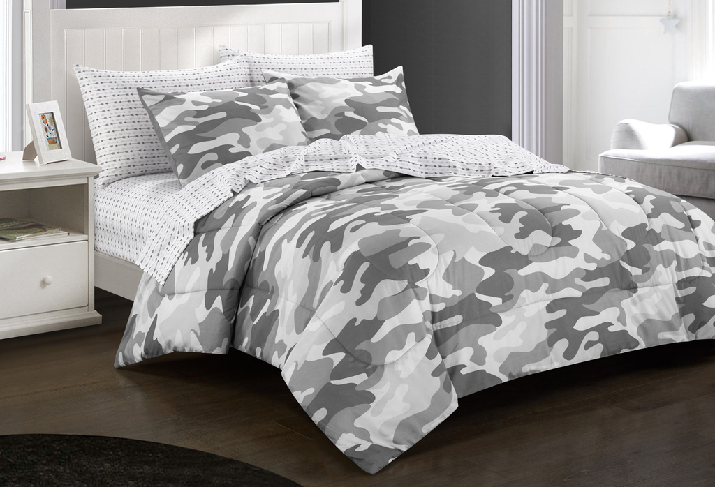 Dream Factory Geo Camo Army Boys Bed In A Bag Comforter Set Green Cam Mainly Bedding