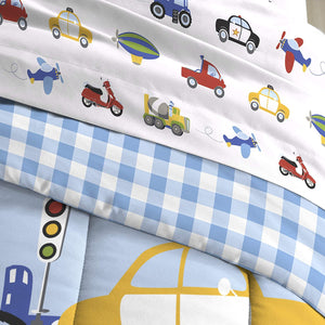 Dream Factory Trains and Trucks 5-Piece Comforter Set, Boys Blue Twi Size Bed in a Bag