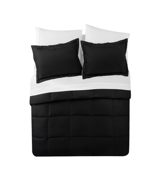 Luxurious Black & White Ultra Soft Down Alternative 7-Piece Comforter Set