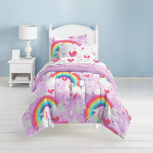Dream Factory Purple Bedding Unicorn Rainbow 7-Piece Microfiber Bed in a Bag with Sheet Set