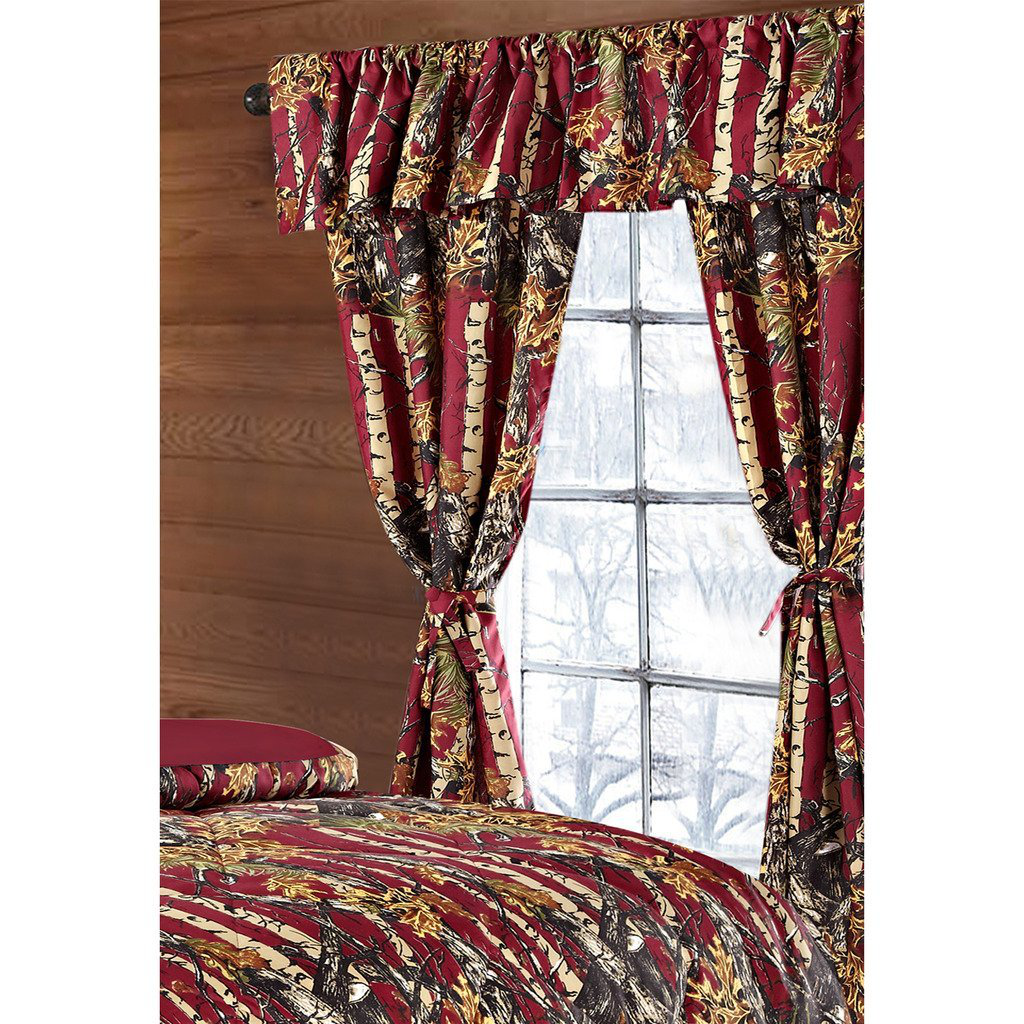 Regal Comfort The Woods Burgundy Red Camouflage 5-Piece Curtain Set Hunters, Cabin or Rustic Lodge