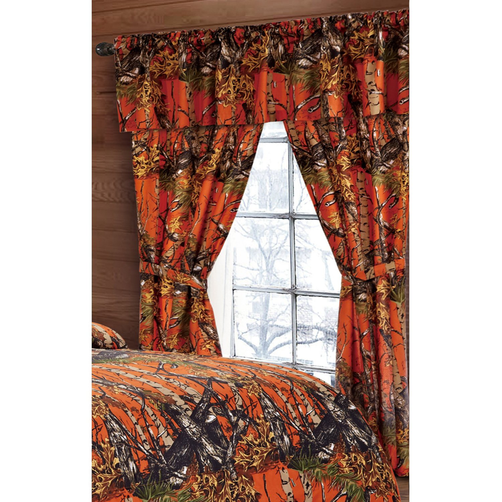 Regal Comfort The Woods Hunter Orange Camouflage 5-Piece Curtain Set Cabin or Rustic Lodge