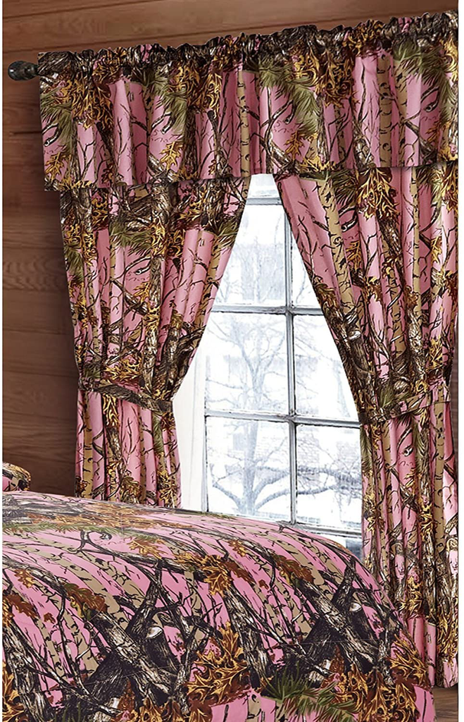 Regal Comfort The Woods Pink Camouflage 5-Piece Curtain Set Hunters, Cabin or Rustic Lodge