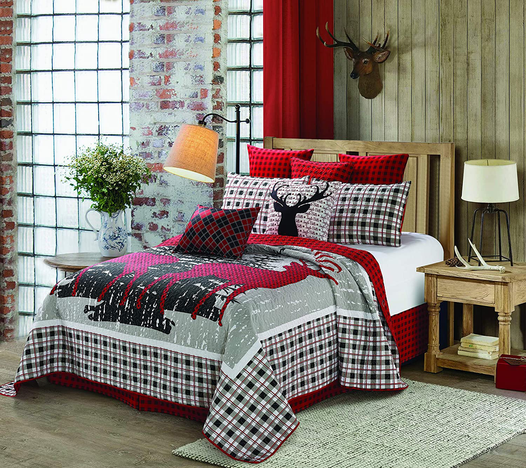 Merry Christmas Reindeer Plaid Red White Holiday 3-Piece Quilt Bedding Set