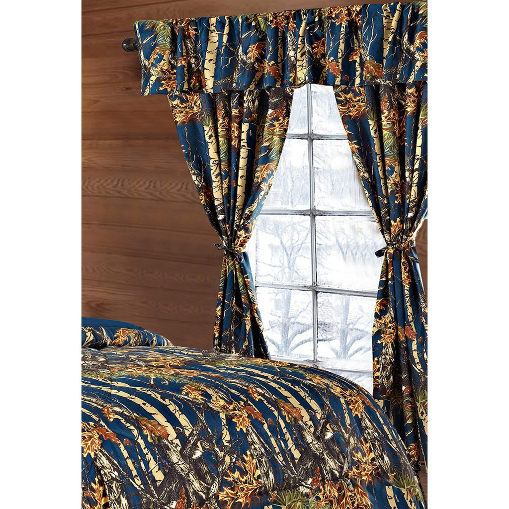 Regal Comfort The Woods Navy Blue Camouflage 5-Piece Curtain Set Hunters, Cabin or Rustic Lodge