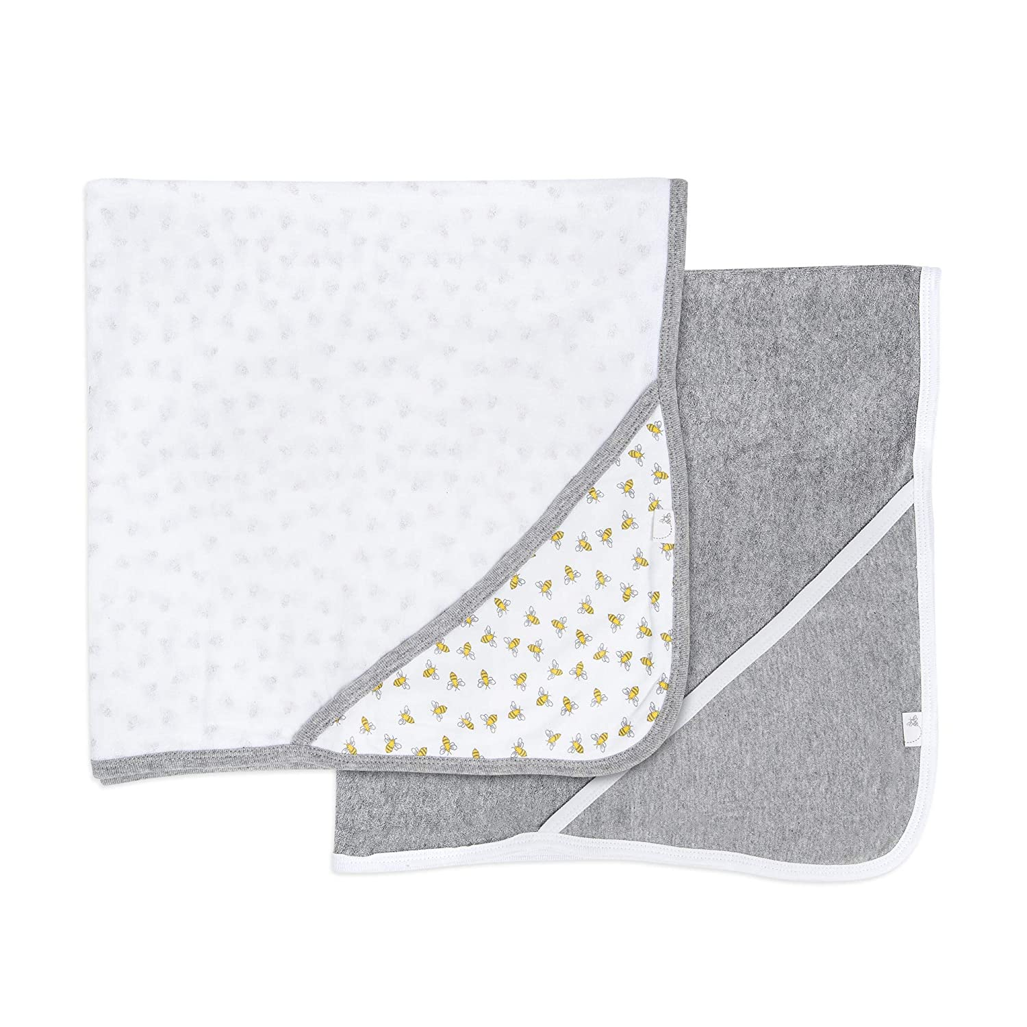 Burt's Bees Baby® 2-Pack Hooded Towels Honey Bee Grey