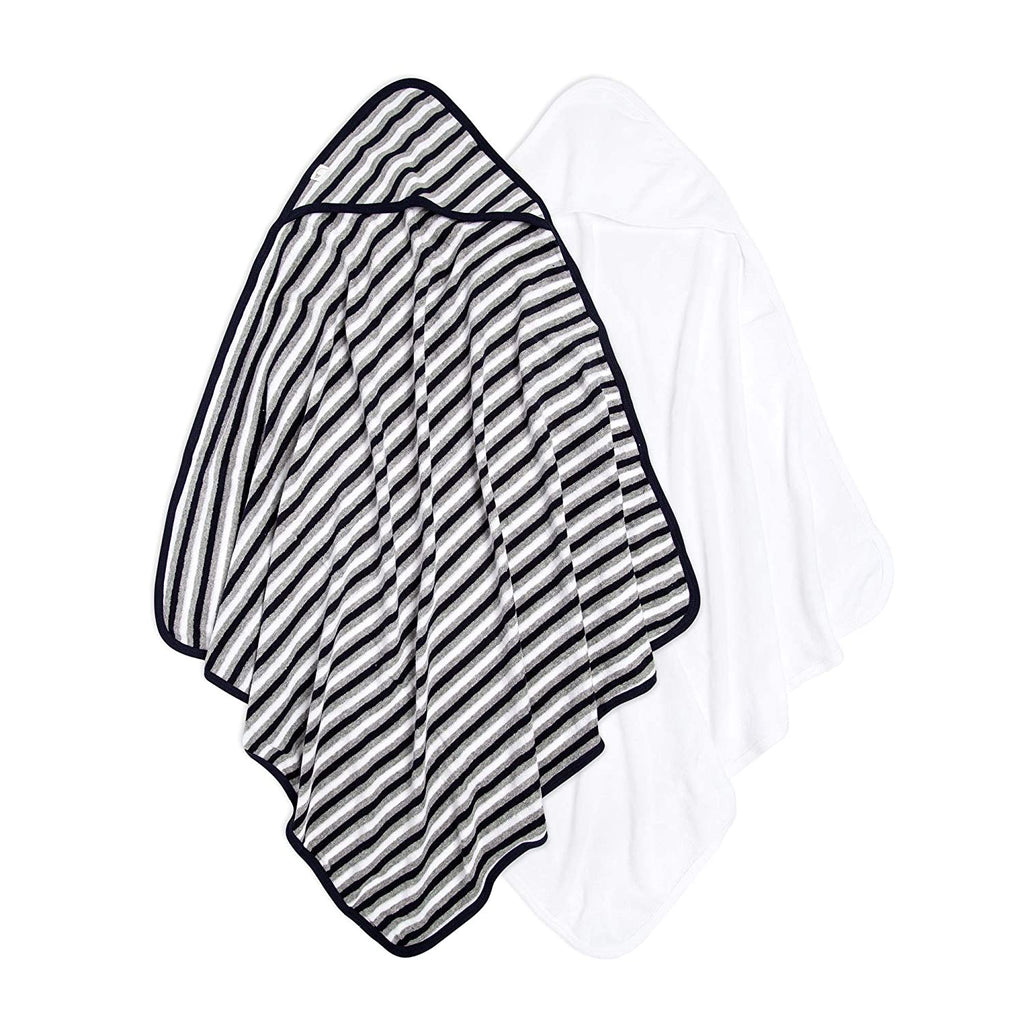 Burt's Bees Baby® 2-Pack Striped Hooded Towels Blueberry Stripe & White