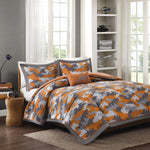 Lance Orange Camouflage Comforter Set, Kids Camo 4-Piece Bedding Set
