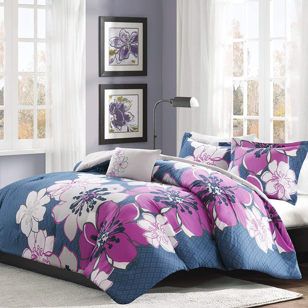 Allison Fuschia Floral Printed Comforter Set Purple by Mi Zone