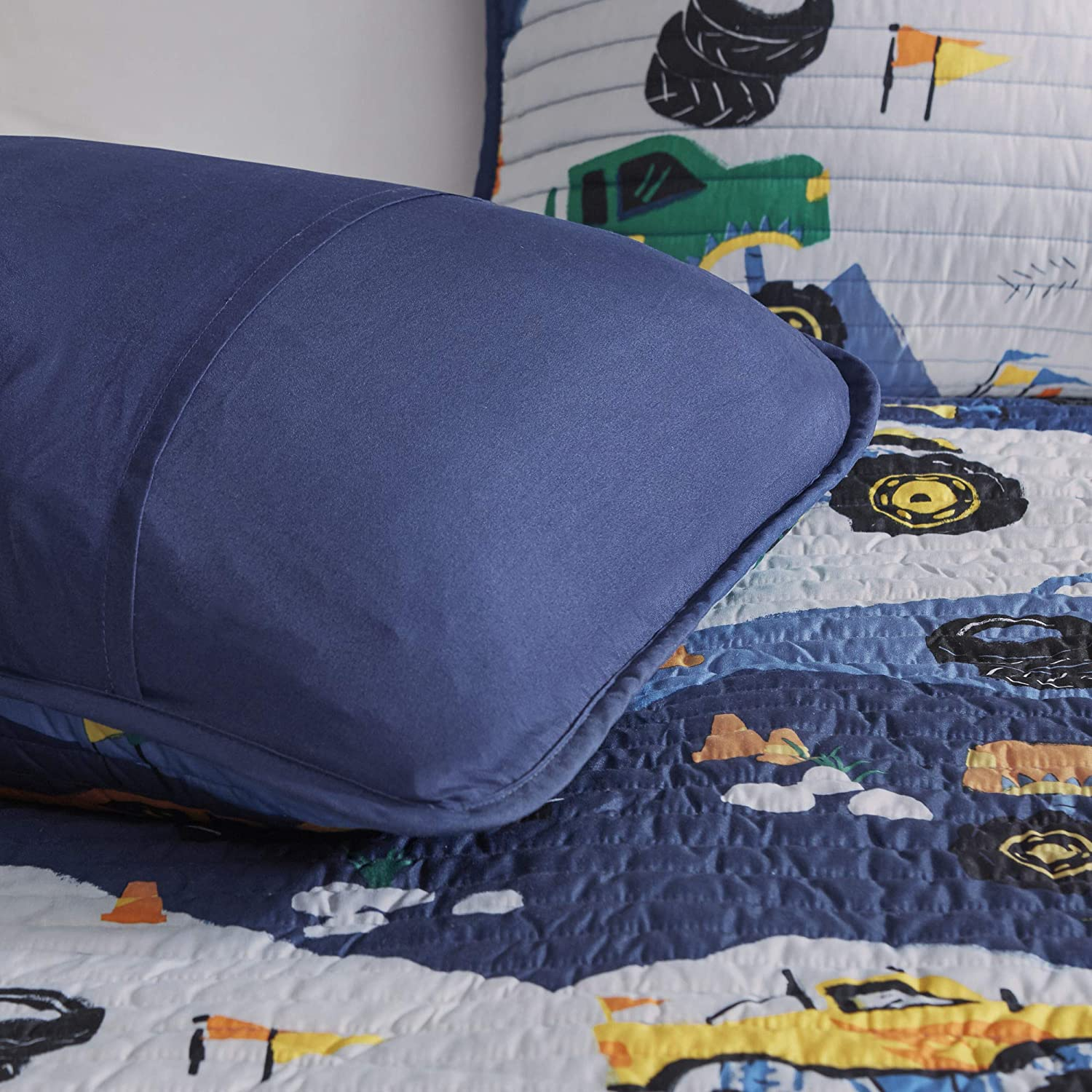 Mi Zone Vibrant Fun Kids Gavin Monster Truck Blue Reversible Coverlet Quilt Set