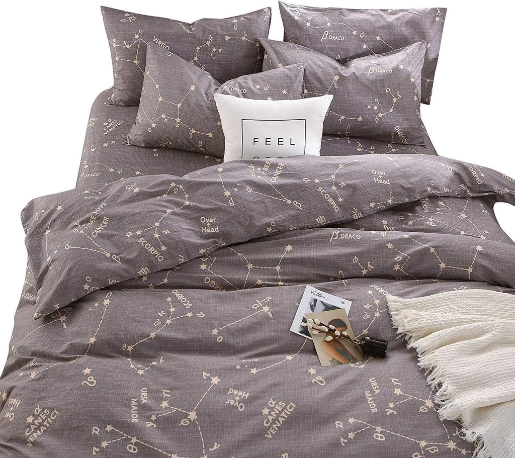 BuLuTu Modern Series Premium Reversible Grey Space Constellation 3-Piece Duvet Cover Set