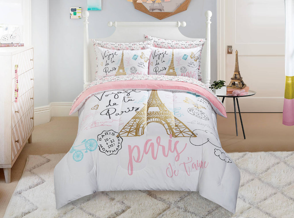 Kids Paris Love Bed-in-a-Bag Bedding Pink Reversible Comforter Set