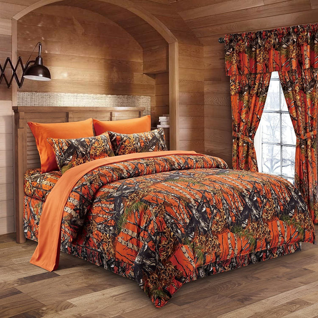 Premium Luxury Camo Comforter Set Hunter Orange Camouflage 3-Piece Bedding Set