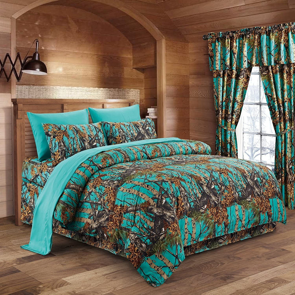 Premium Luxury Camo Comforter Set Teal Camouflage 3-Piece Bedding Set - Queen Size