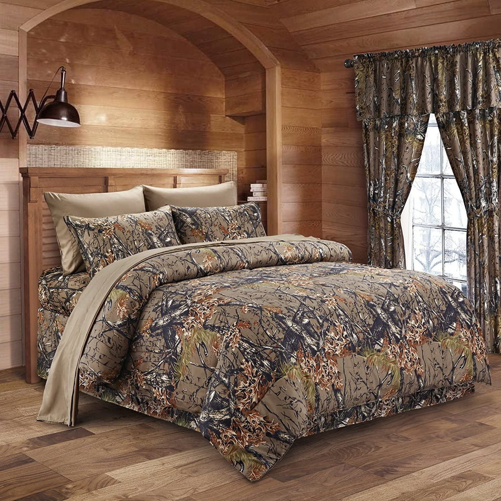 Premium Luxury Camo Comforter Set Natural Green Camouflage 3-Piece Bedding Set