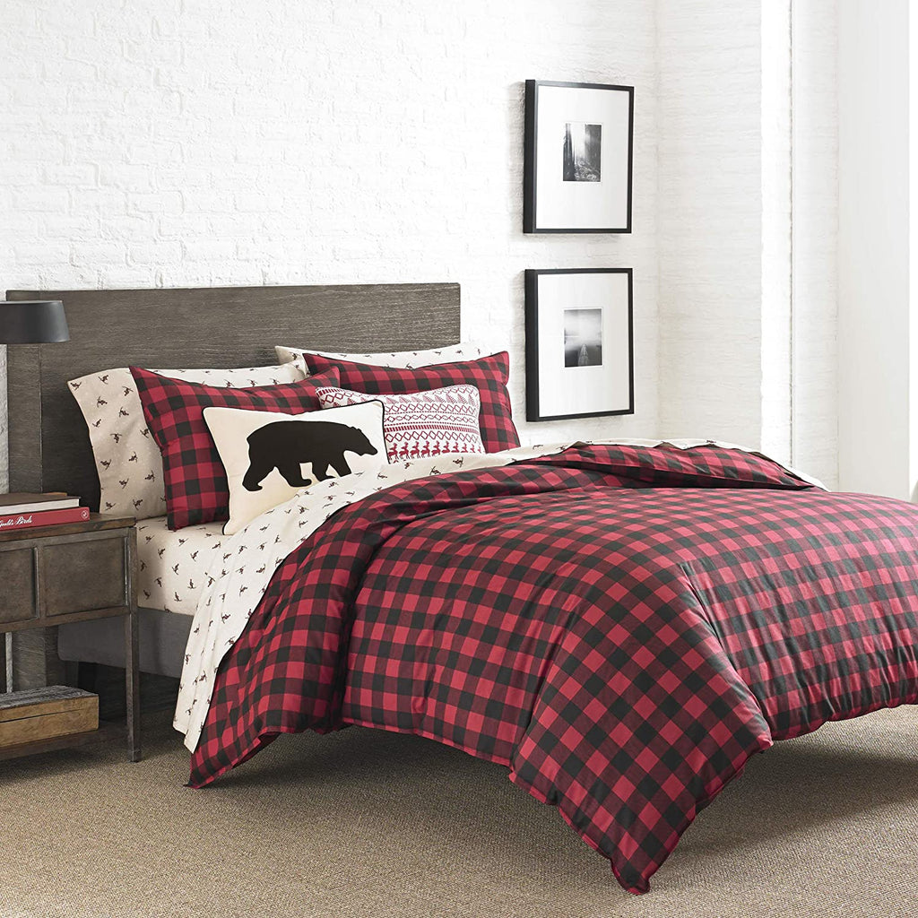 Eddie Bauer Mountain Plaid Scarlet Red Comforter Set