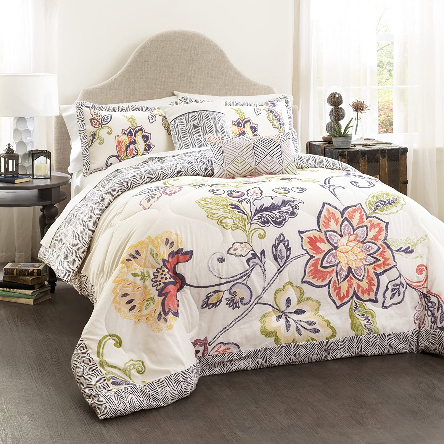 Lush Decor Ultra-Soft Aster Quilted Comforter Coral/Navy 5-Piece Set