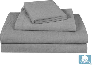 Luxurious All Natural Prewashed Cotton Chambray Duvet Cover Set