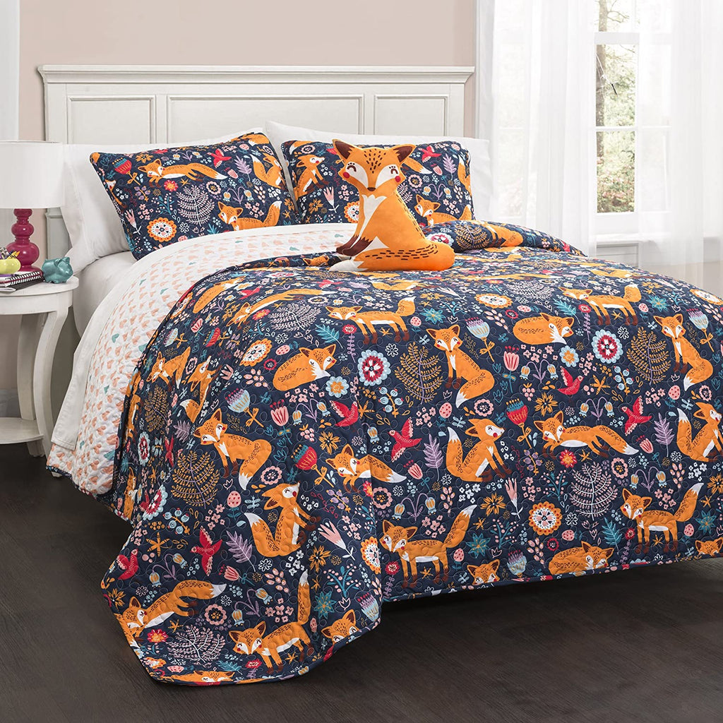 Lush Decor Reversible Pixie Fox Kids Quilt 4-Piece Set, Navy Blue