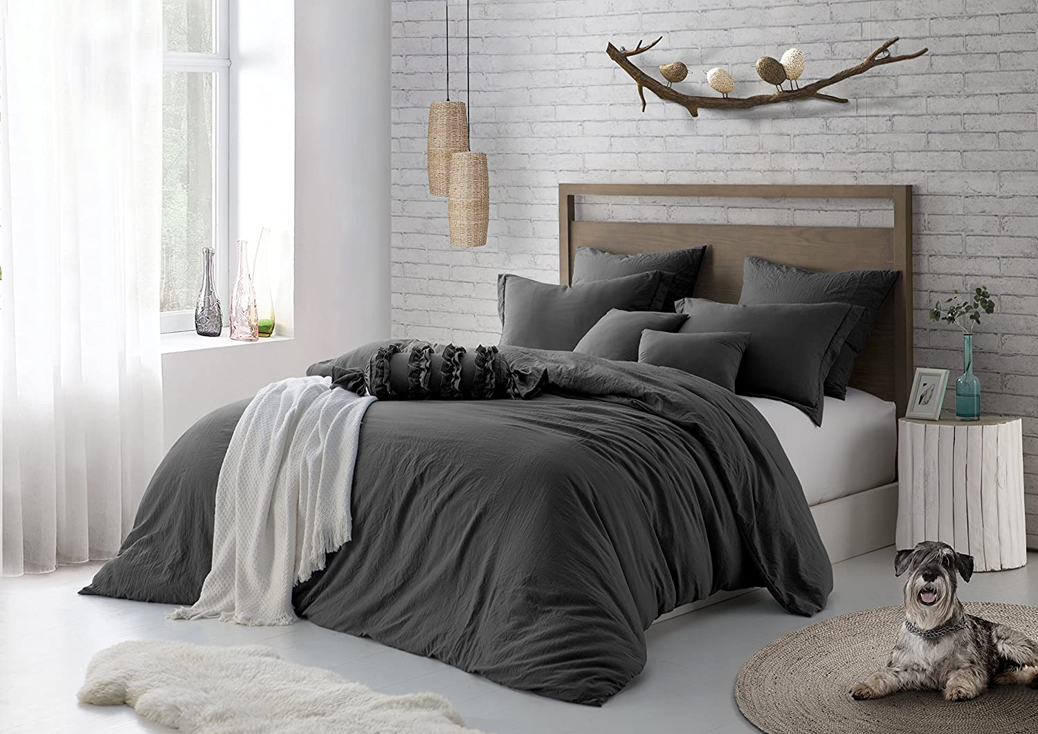 Premium Pre-washed Crinkle Microfiber Duvet Set Stylish Wrinkle Look