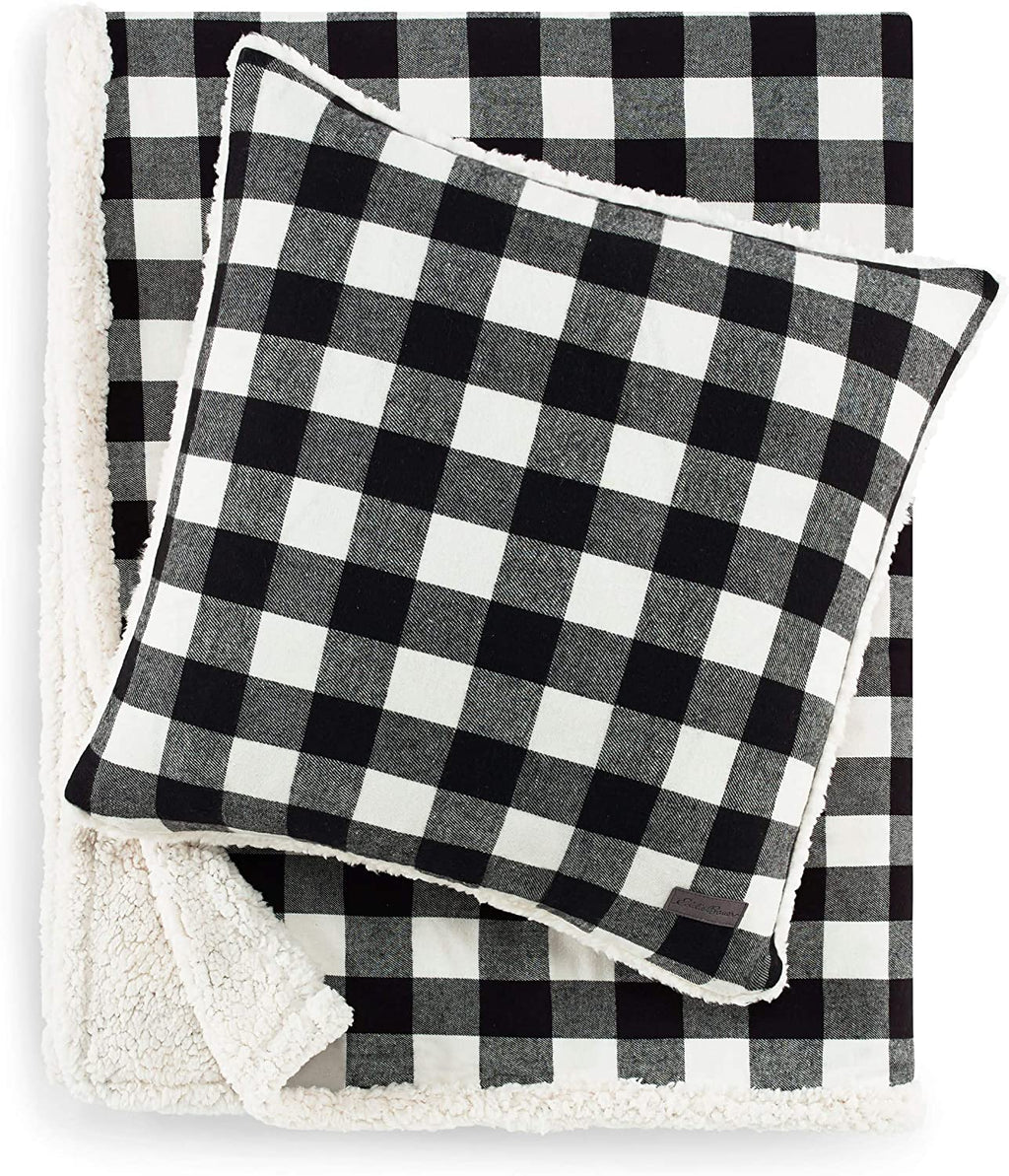Eddie Bauer Cabin Plaid Sherpa Throw and Pillow Set