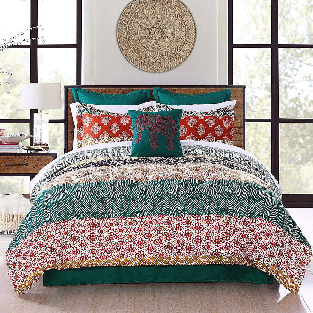 Bohemian Stripe 7-Piece Comforter Set Lush Decor Bedding