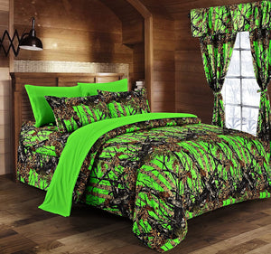 Premium Luxury Regal Comfort Camo Comforter Set Bio Hazard Green Camouflage 8-Piece Bedding Set