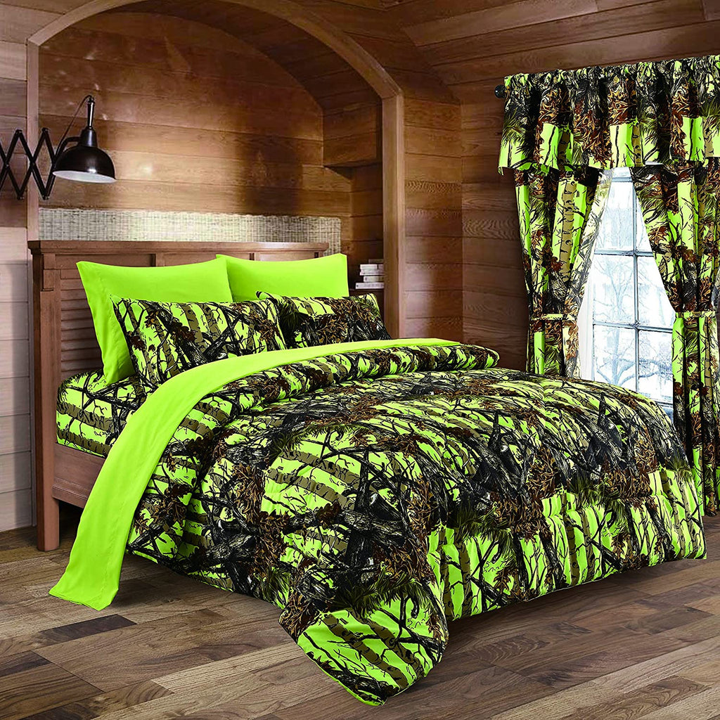 Premium Luxury Camo Comforter Set Lime Green Camouflage 8-Piece Bedding Set