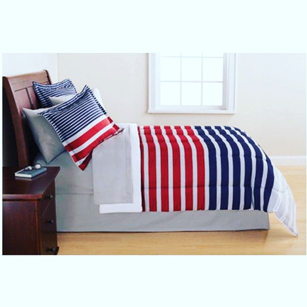 Traditional Red Blue Stripe 8-Piece Comforter Set, Classic Bedding Set