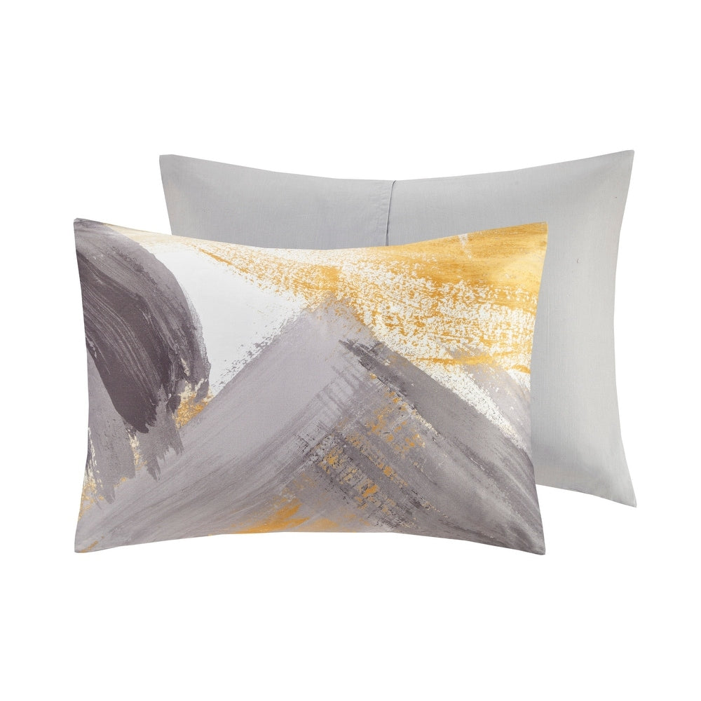 Cosmo Living Andie Grey & Yellow Cotton Duvet Cover Set