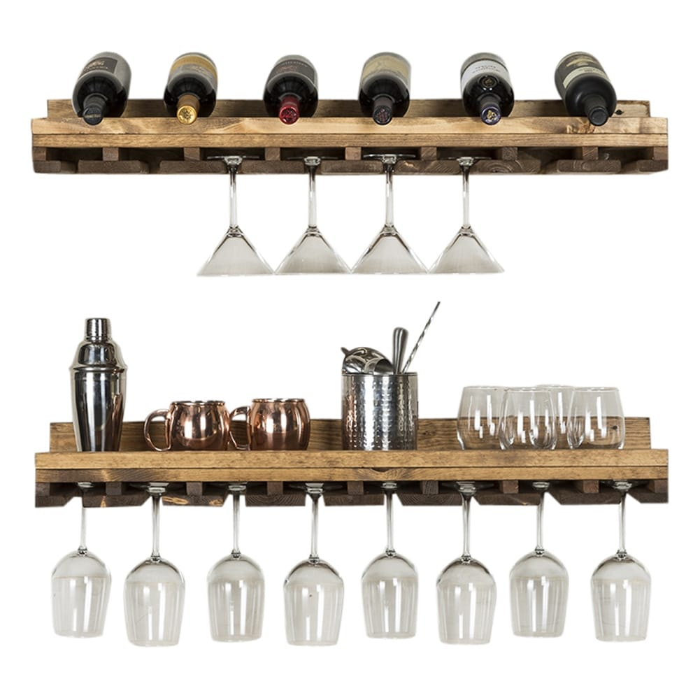 Del Hutson Designs Rustic Luxe Stemware Shelf Set, 36""
