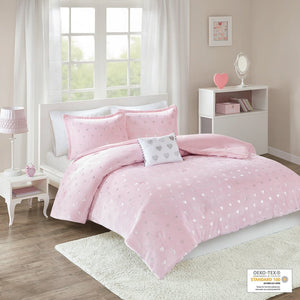 Jenna Pink Metallic Heart Printed Plush Comforter Set by Intelligent Design