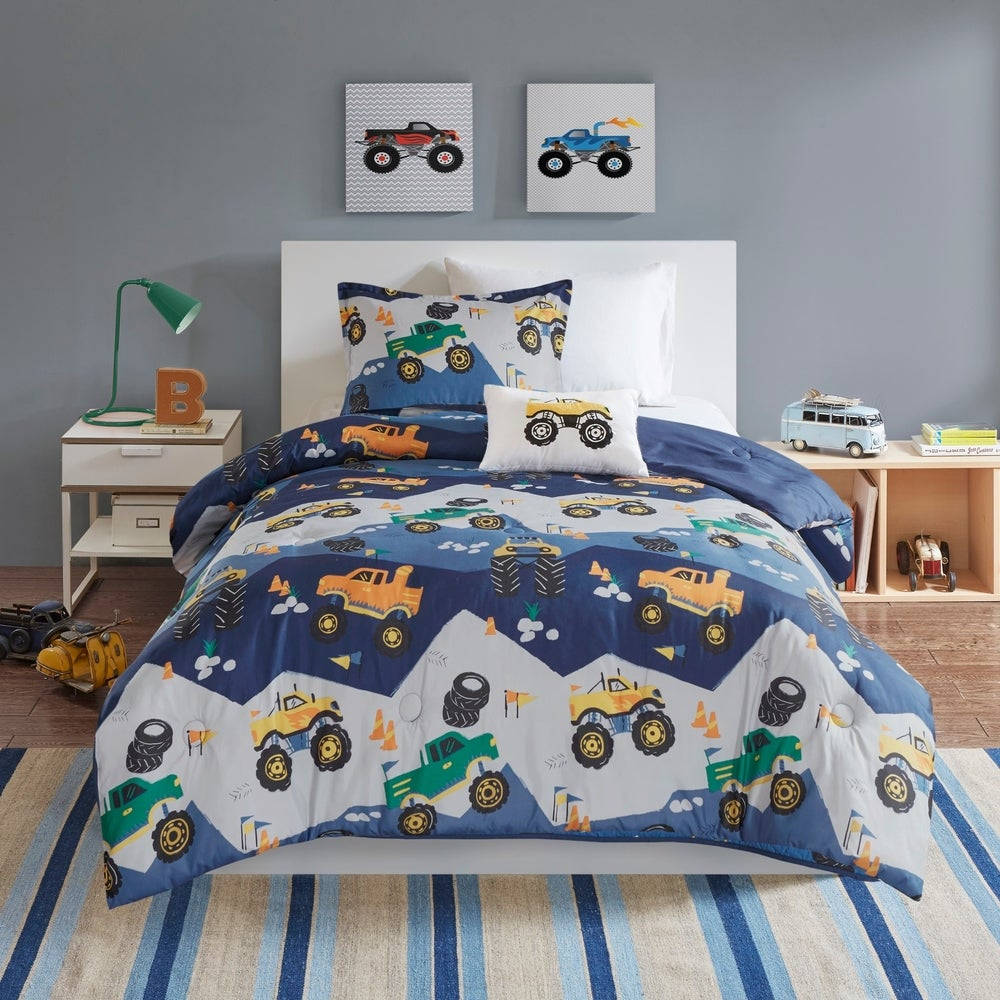 Mi Zone Fun Kids Gavin Monster Truck Comforter Set - Blue