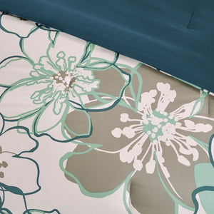 Skylar Floral Blue/Grey Printed Comforter Set by Mi Zone