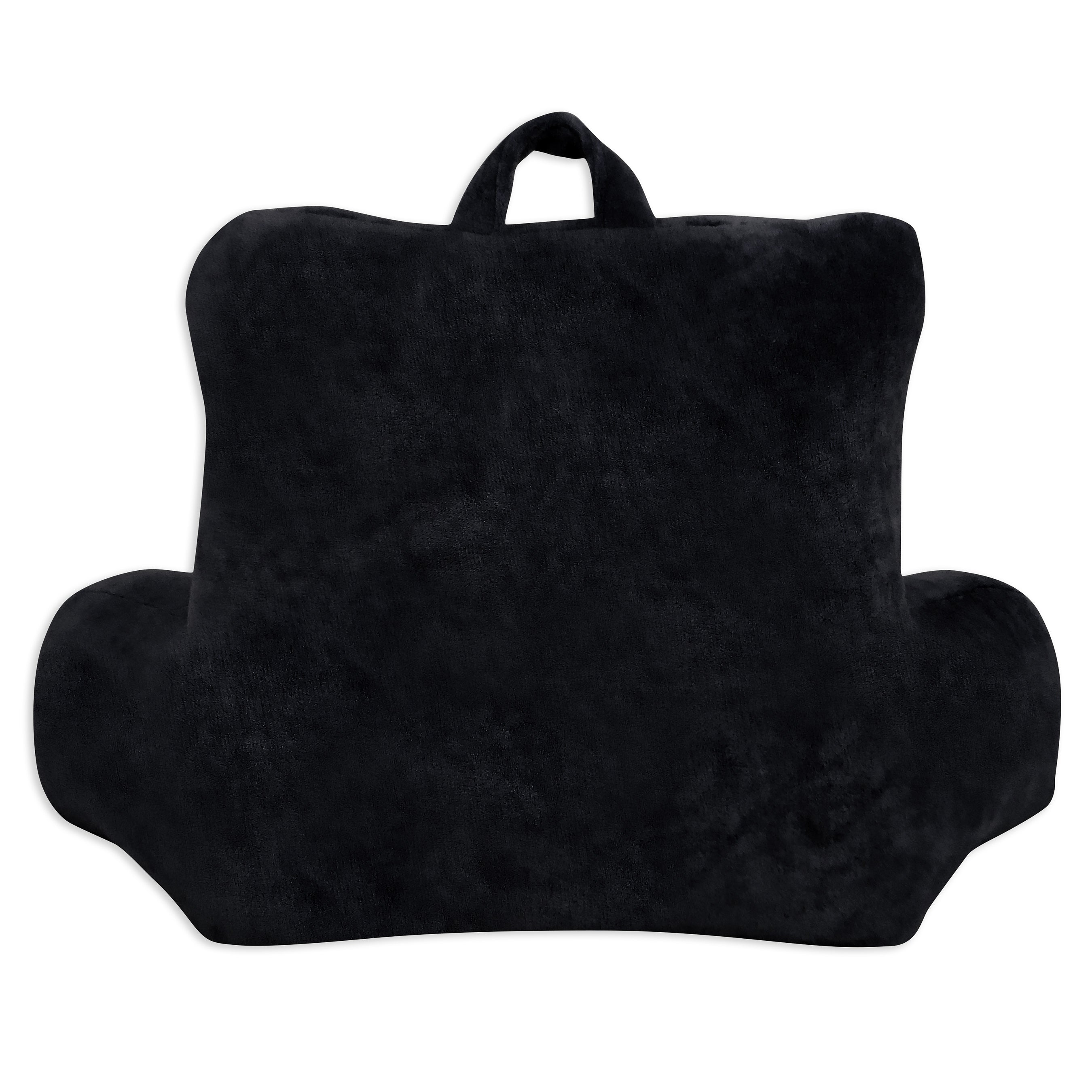 Plush Micro Mink Bed Rest Backrest Pillow with Pocket