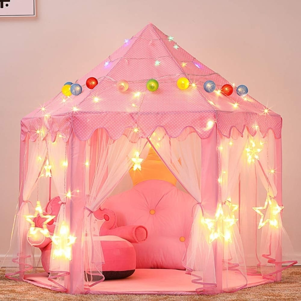 Princess Castle LED Stars Pink Play Tent