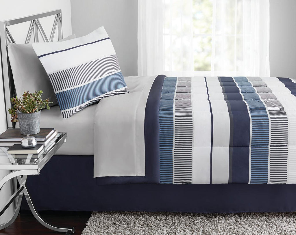 Blue and White Stripe 8-Piece Bedding Set, Coordinating Bed in a Bag