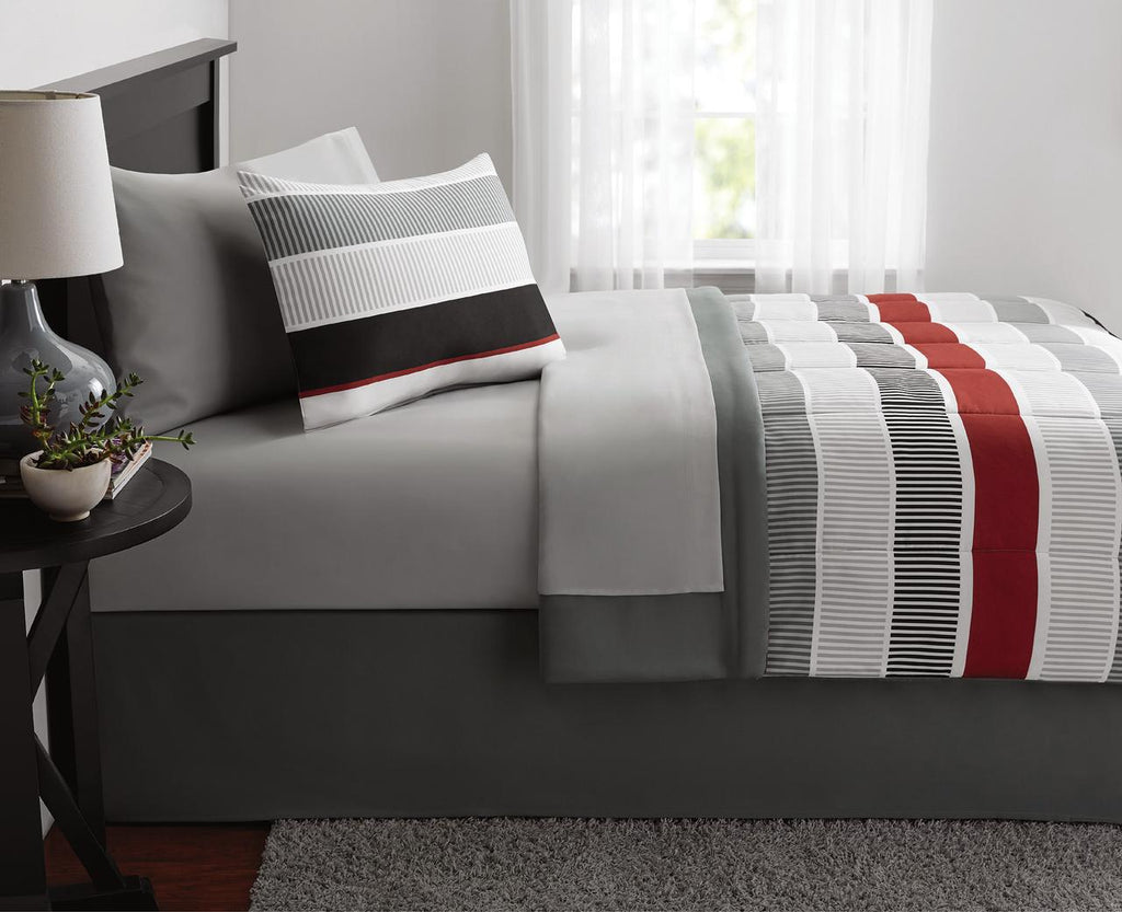 Red and White Stripe 8-Piece Bedding Set, Coordinating Bed in a Bag